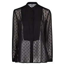 Buy Mango Polka Dot Flecked Motive Blouse, Black Online at johnlewis.com