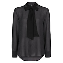 Buy Mango Tie Blouse Textured Polka Dot Chiffon Blouse, Black Online at johnlewis.com