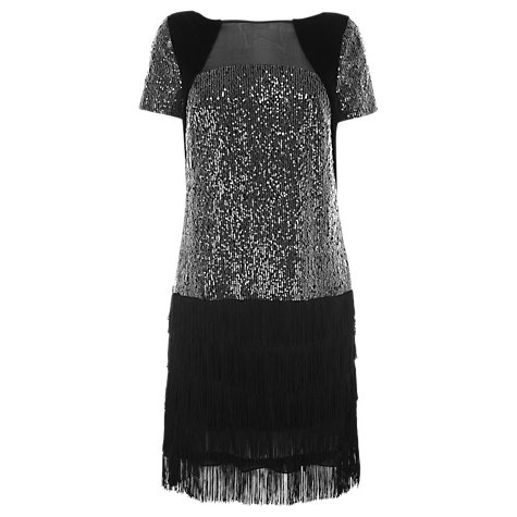 Buy Coast Mischa Fringe Dress, Black Online at johnlewis.com