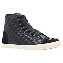 Buy Carvela Jenner Quilted Studded Trainers, Black Online at johnlewis.com
