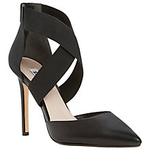 Buy Dune Demie Leather Cross-Strap Stiletto Heel Court Shoes, Black Online at johnlewis.com