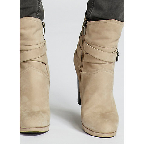 Buy Mint Velvet Nubuck Cross-Strap Ankle Boots, Latte Online at johnlewis.com