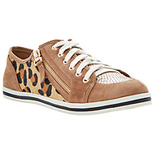 Buy Dune Landscaped Leather Trainers, Tan Online at johnlewis.com