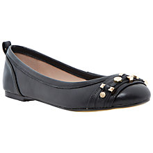 Buy Dune Mary Leather Ballerina Shoes, Black Online at johnlewis.com