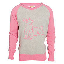 Buy Barbour Girls' Maggie Intarsia Knit Rabbit Jumper, Pink/Grey Online at johnlewis.com