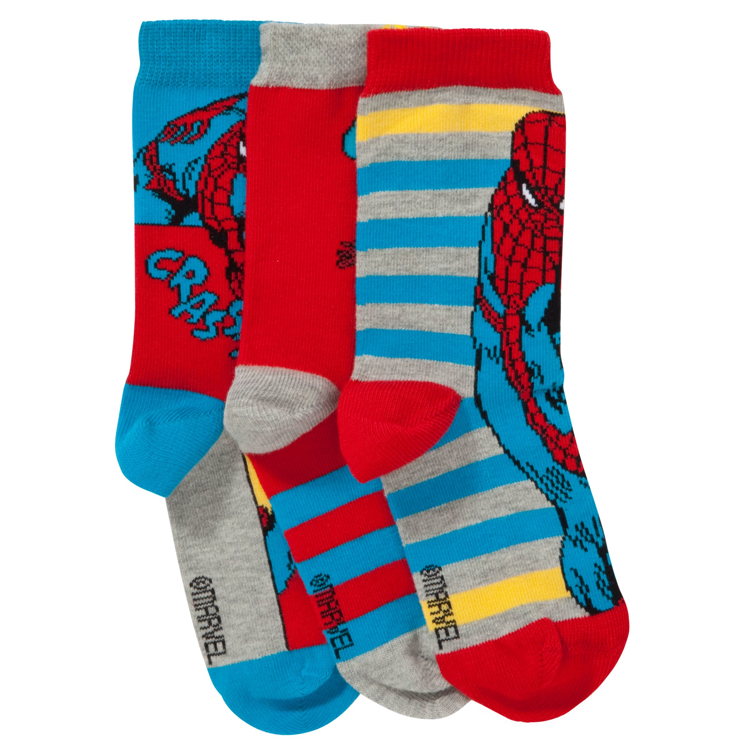 John Lewis Boy Spider-Man Socks, Pack of 3, Red/Blue