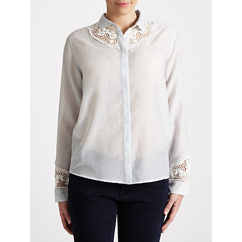 Buy Paul & Joe Sister Gabriel Lace Detail Blouse, Pale Blue Online at johnlewis.com