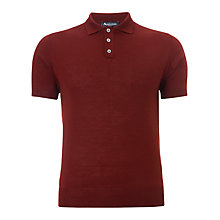 Buy Aquascutum Merino Wool Polo Top, Burgundy Online at johnlewis.com