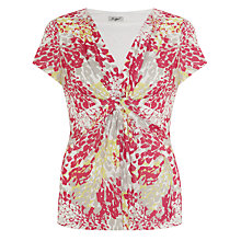 Buy John Lewis Capsule Collection Printed Jersey Knot Top, Pink/Stone/Lemon Online at johnlewis.com