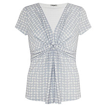 Buy John Lewis Capsule Collection Printed Jersey Knot Top, Pale Grey/White Online at johnlewis.com