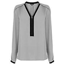 Buy Warehouse Zip Front Long Sleeve Blouse, Mink Online at johnlewis.com