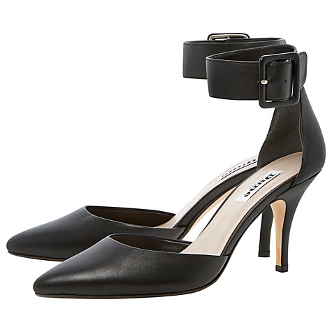 Buy Dune Dolphin Leather Two Part Ankle Strap Court Shoes, Black Online at johnlewis.com