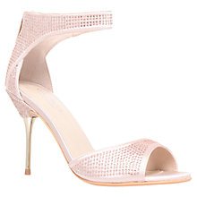 Buy Carvela Globe Satin Diamante Peep-Toe Sandals, Pink Online at johnlewis.com
