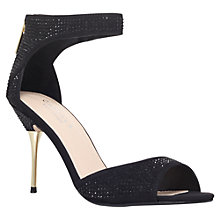 Buy Carvela Globe Suedette Diamante Peep-Toe Sandals, Black Online at johnlewis.com