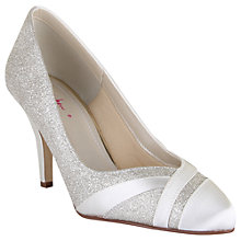 Buy Rainbow Club Mila Extra Wide Fit Glitter Satin Strip Court Shoes, Ivory Online at johnlewis.com