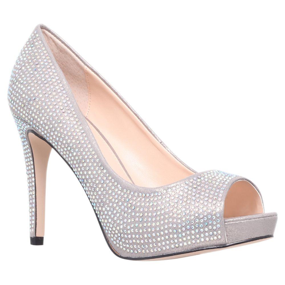 Carvela Grind Peep Toe Court Shoes, Silver