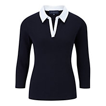 Buy Viyella Tipped Waffle Polo Jersey, Navy Online at johnlewis.com