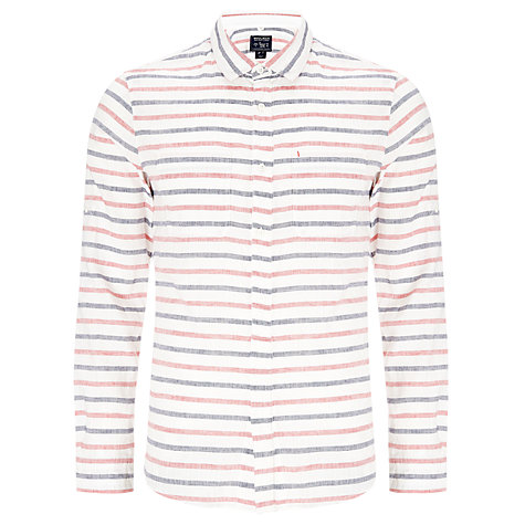 Buy Woolrich John Rich & Bros. Striped Linen Shirt, Coral Red Online at johnlewis.com