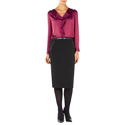 Buy Planet Leatherette Trim Pencil Skirt, Black Online at johnlewis.com
