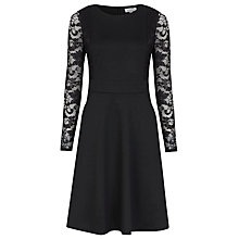 Buy Kaliko Lace Sleeve Skater Dress, Black Online at johnlewis.com