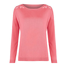 Buy Kaliko Pretty Lace Shoulder Jumper, Pink Online at johnlewis.com