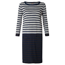 Buy Jigsaw Merino Colour Block Stripe Dress, Grey Online at johnlewis.com