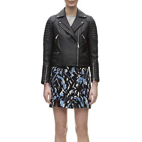 Buy Whistles Ziggy Leather Biker Jacket, Black Online at johnlewis.com