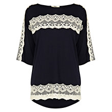 Buy Oasis Crochet Lace Drop Sleeve Top, Navy Online at johnlewis.com