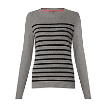 Buy Jigsaw Cashangora Stripe Sweater, Light Grey Online at johnlewis.com