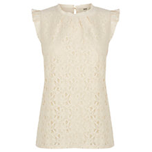 Buy Oasis Frill Sleeve Lace Top, Off White Online at johnlewis.com