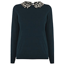 Buy Oasis Collar Jumper, Turquoise Online at johnlewis.com