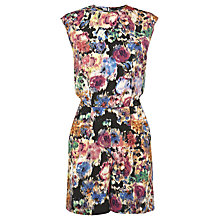 Buy Warehouse Smudgy Floral Playsuit, Multi Online at johnlewis.com