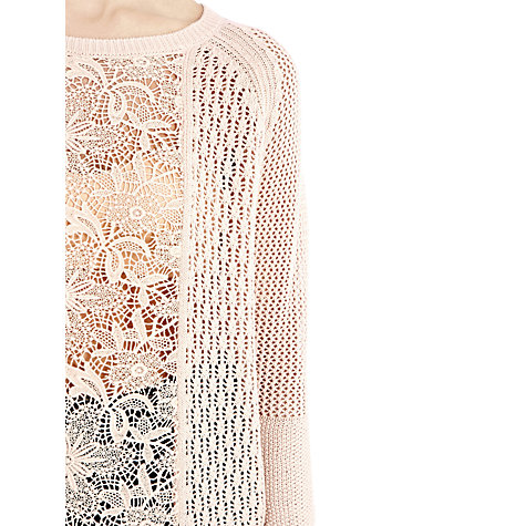 Buy Warehouse Lace Block Jumper, Light Pink Online at johnlewis.com