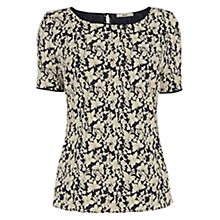 Buy Oasis Butterfly Jacquard T-Shirt, Navy Online at johnlewis.com