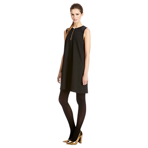 Buy Warehouse Zip Front Swing Dress, Black Online at johnlewis.com