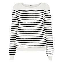 Buy Oasis Pointelle Stripe Jumper, Off White Online at johnlewis.com