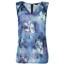 Buy Warehouse Denim Print Top, Light Blue Online at johnlewis.com