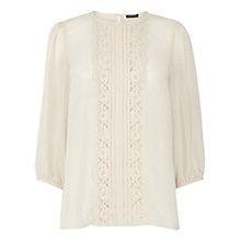 Buy Warehouse Pretty Lace Top, Cream Online at johnlewis.com