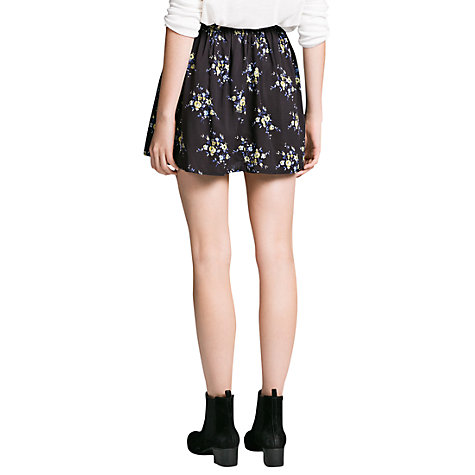 Buy Mango Floral Printed Skirt, Black Online at johnlewis.com
