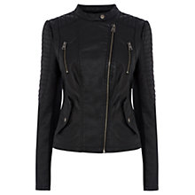 Buy Oasis Faux Leather Jacket, Black Online at johnlewis.com