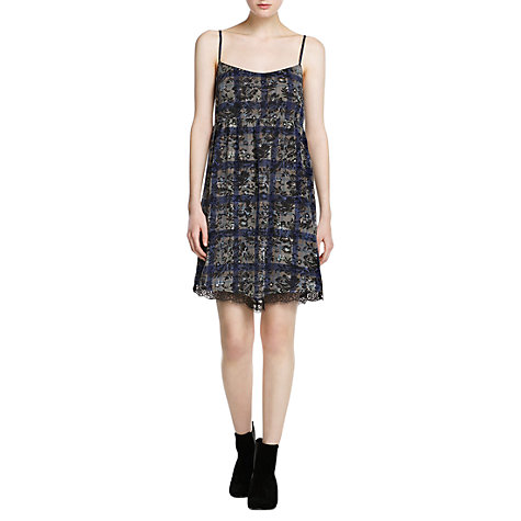 Buy Mango Lace Check Dress, Bright Blue Online at johnlewis.com