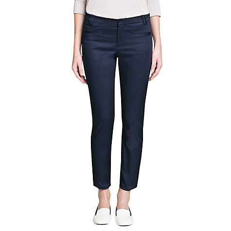 Buy Mango Slim Fit Cotton Trousers, Navy Online at johnlewis.com