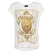 Buy Mango Lion Baroque Printed Cotton T-Shirt, White Online at johnlewis.com