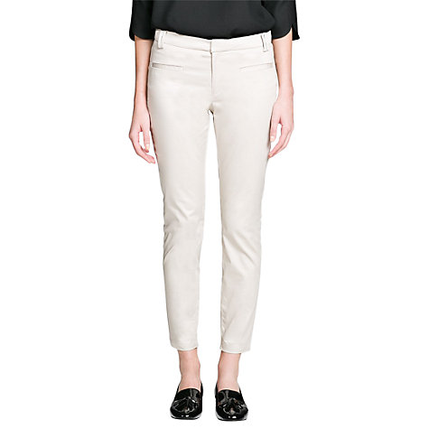 Buy Mango Slim Fit Cotton Trousers, Off-White Online at johnlewis.com