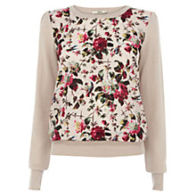 Buy Oasis Rose Print Top, Mid Neutral Online at johnlewis.com
