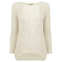 Buy Warehouse Lace Block Jumper, Cream Online at johnlewis.com