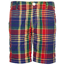 Buy Hackett Boys' Madras Checked Shorts, Navy/Red Online at johnlewis.com
