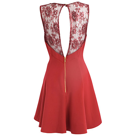 Buy Almari Lace Top Flared Dress, Red Online at johnlewis.com