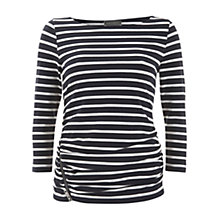 Buy Mint Velvet Zip Detail T-Shirt, Navy / White Online at johnlewis.com