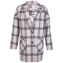 Buy Miss Selfridge Check Car Coat, Pink Online at johnlewis.com